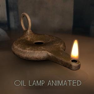 3D model old oil lamp