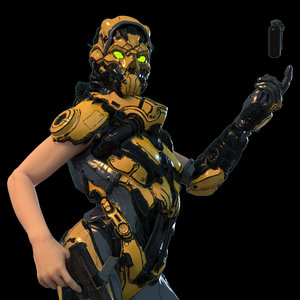 3D gdc fps female rigged model