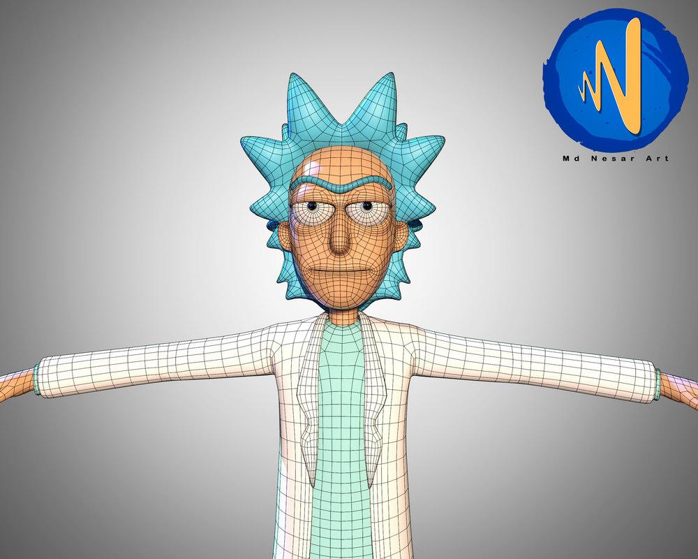 rick sanchez rigged animation 3D model