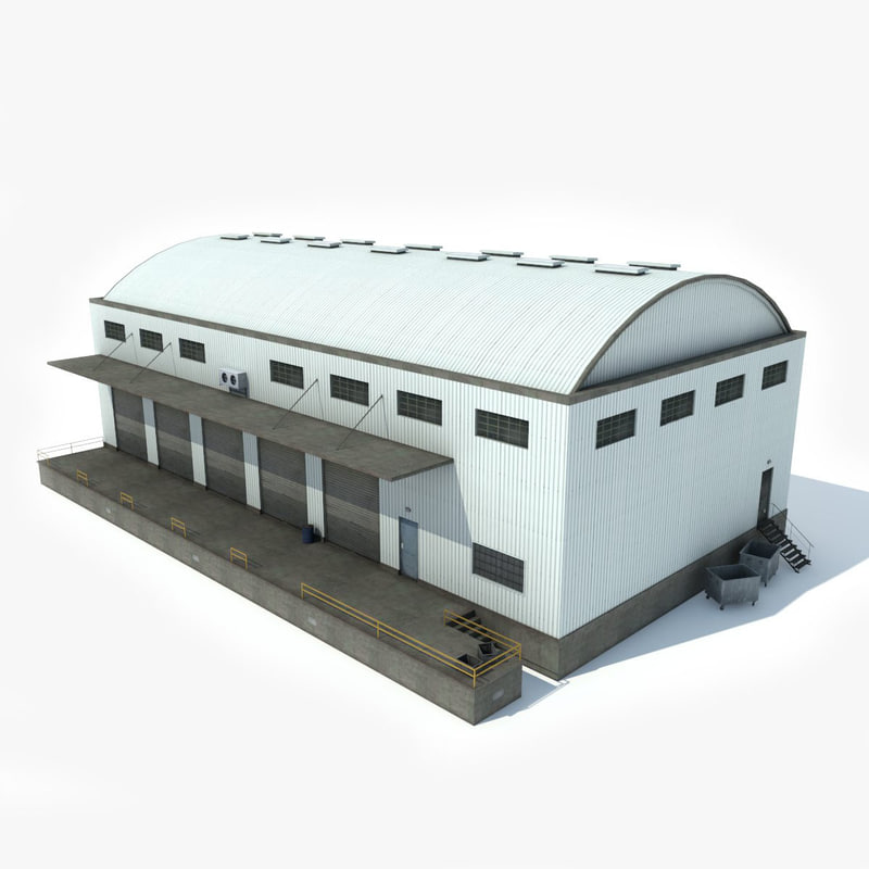 3D industrial building warehouse model