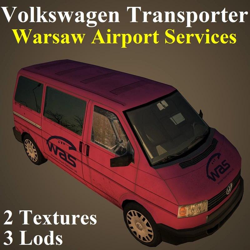 3D model volkswagen transporter airport