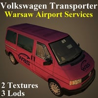 3D model volkswagen transporter airport