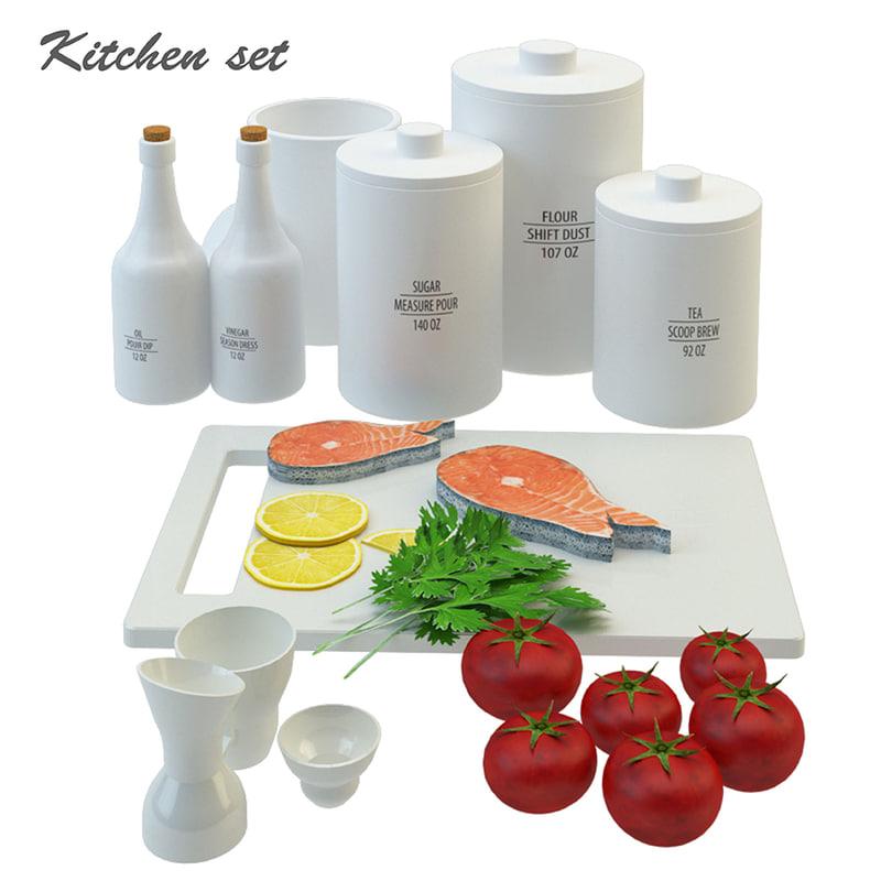 3D kitchen fud set