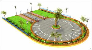 3D square parking model