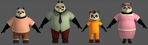 3D panda family model
