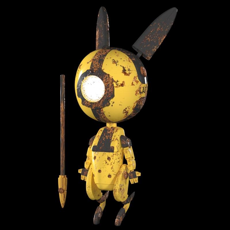 3D little bot bunny model