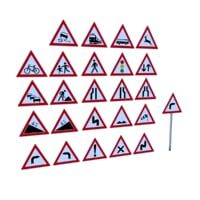 3D model german warning traffic signs