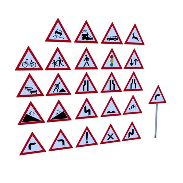 3D model german warning traffic signs