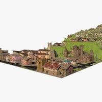 3D town scene model
