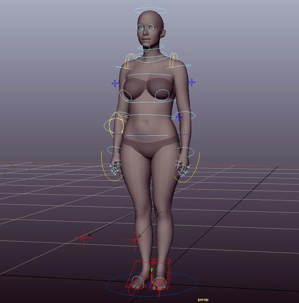 woman rig 3D model