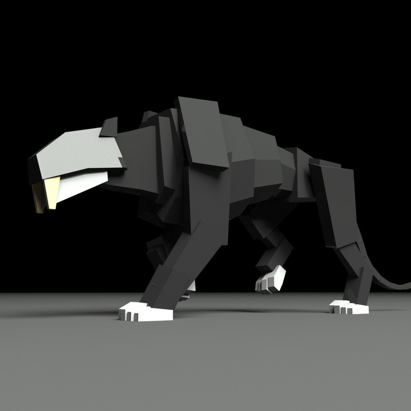 boxy saber tooth tiger 3D model