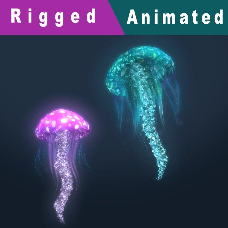 3D fantasy jellyfish rigged animation