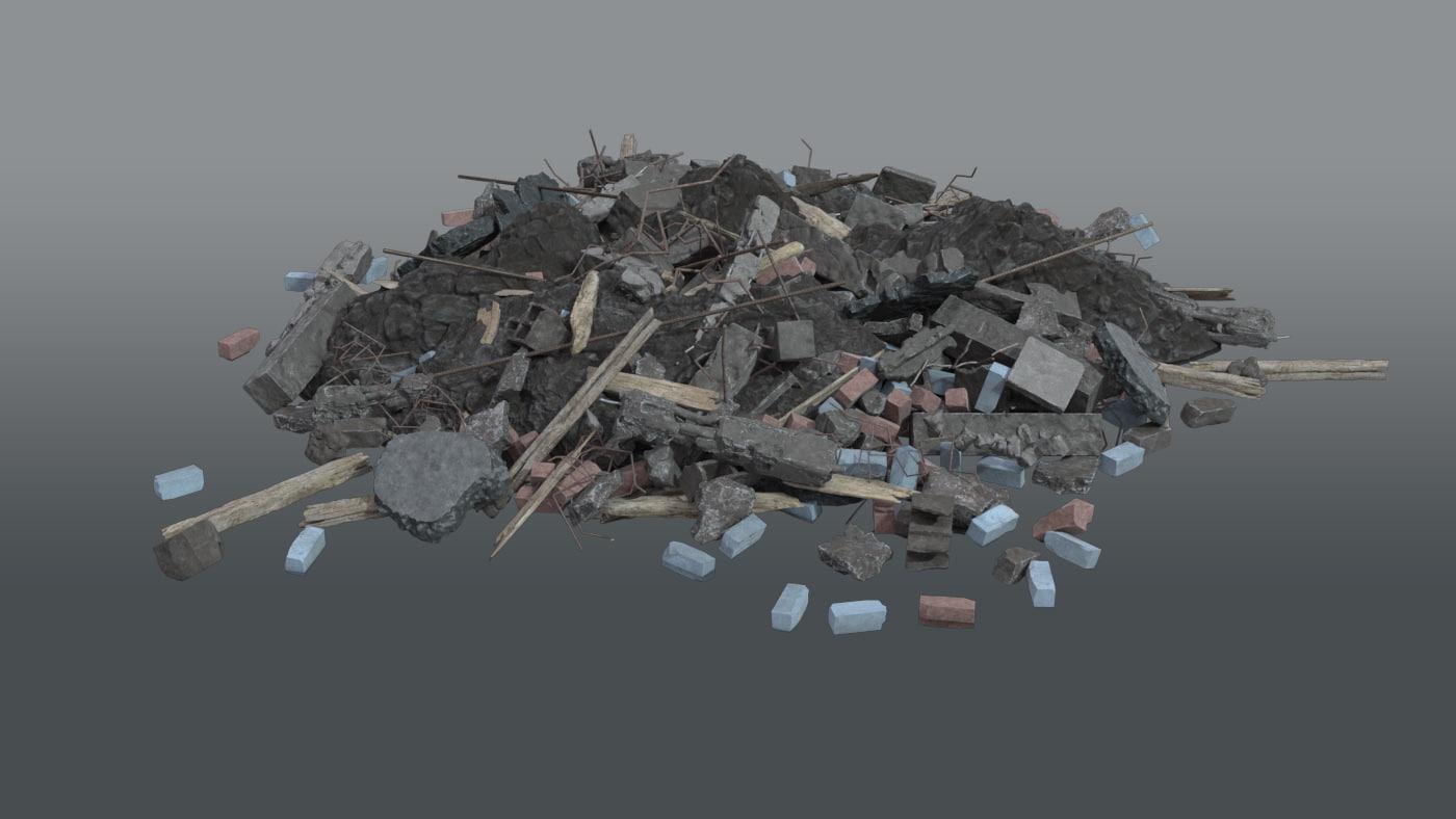 3D pile rubble debris