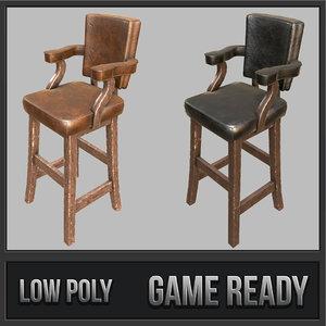 3D model rustic bar stool 01