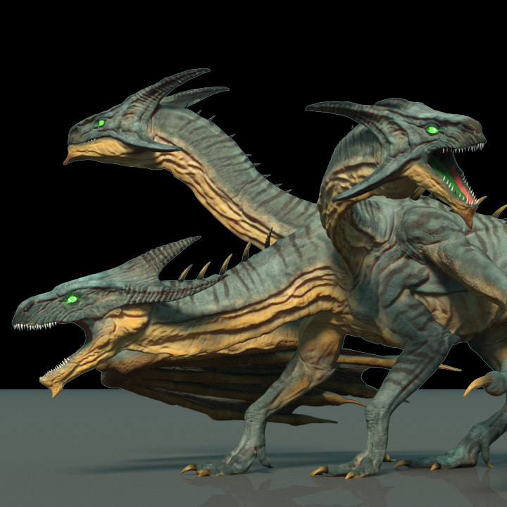 3D three-headed dragon