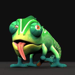 3D chameleon cartoony rig model