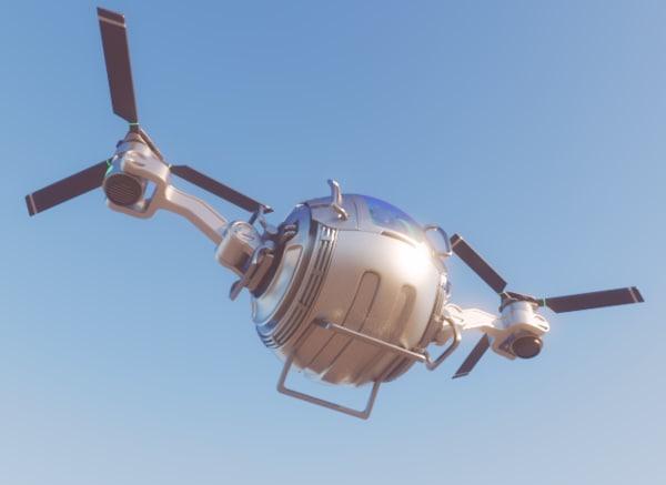 futuristic cargo drone modelled model
