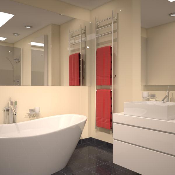 modern bathroom scene 3D model