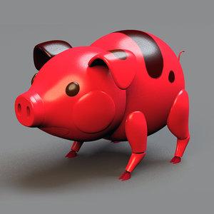 3D model pig mechanic rig
