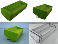 3D triple sofa