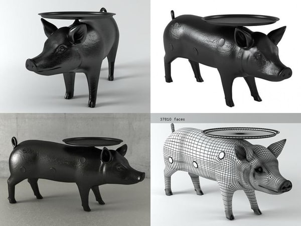 3D pig table model