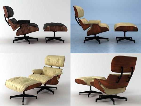 3D eames lounge chair ottoman model