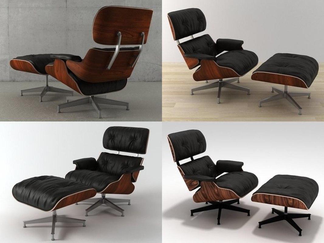 Eames Lounge Stoel : D eames lounge chair ottoman model turbosquid