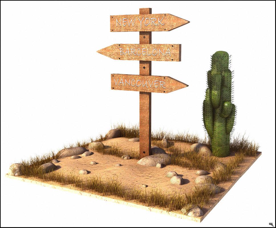 3D model sign old direction