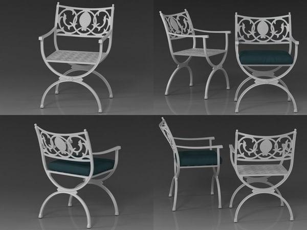 3D model valletta armchair