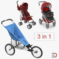 baby strollers 2 3D model