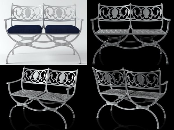 3D valletta double bench model