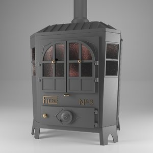 3D wood stove model