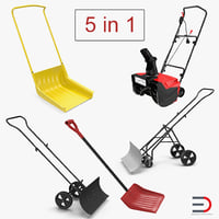 Manual Snow Removal Equipment 3D Models Collection