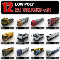 trucks eu tow 3D model
