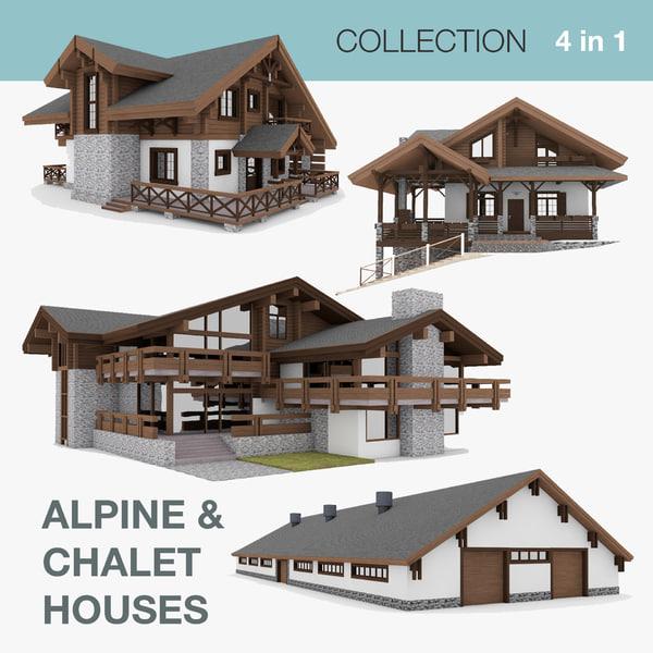 3D chalet houses 1 4