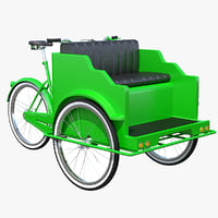green pedicab 3D model