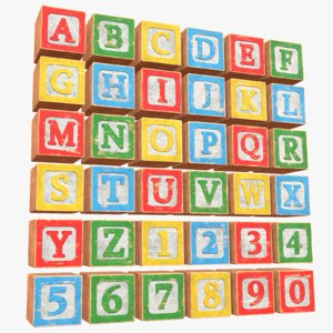 old alphabet blocks 3D model
