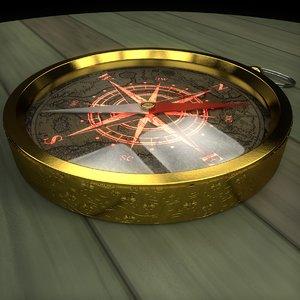 3D golden compass model