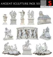 3D ancient sculpture pack 12