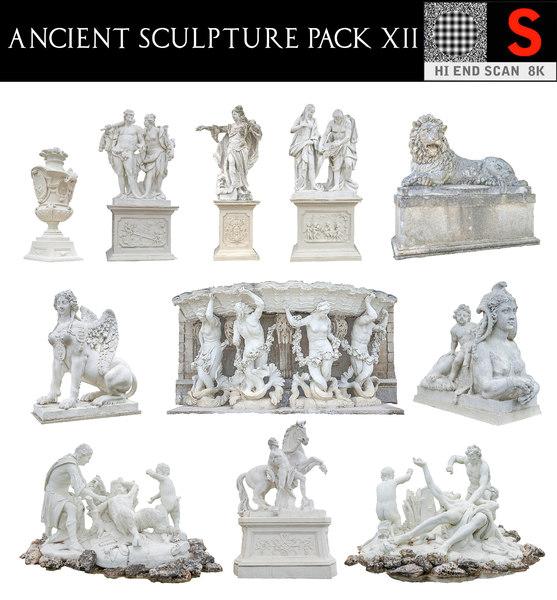 3D ancient sculpture pack 12