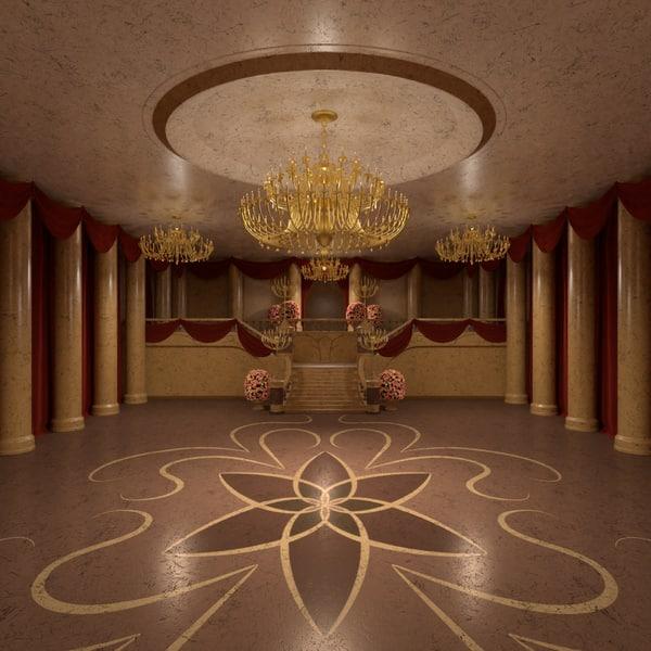 3D model elegant ballroom