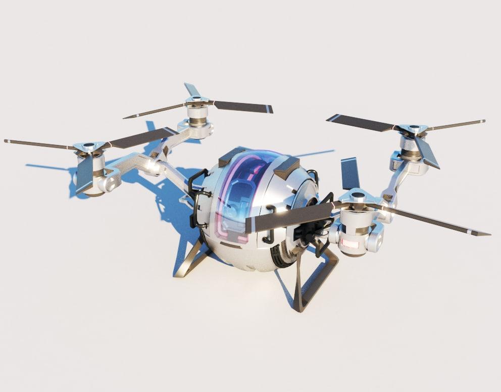 sci fi cargo quadcopter 3D model