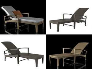 3D panama beach chair model