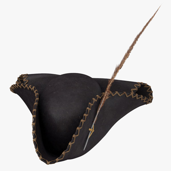 3D pirate hat 02 worn model