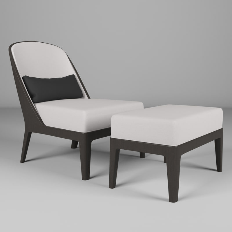 3D chair ottoman model