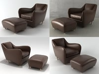 balzac armchair ottoman 3D