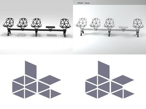 3D chair public seating 2