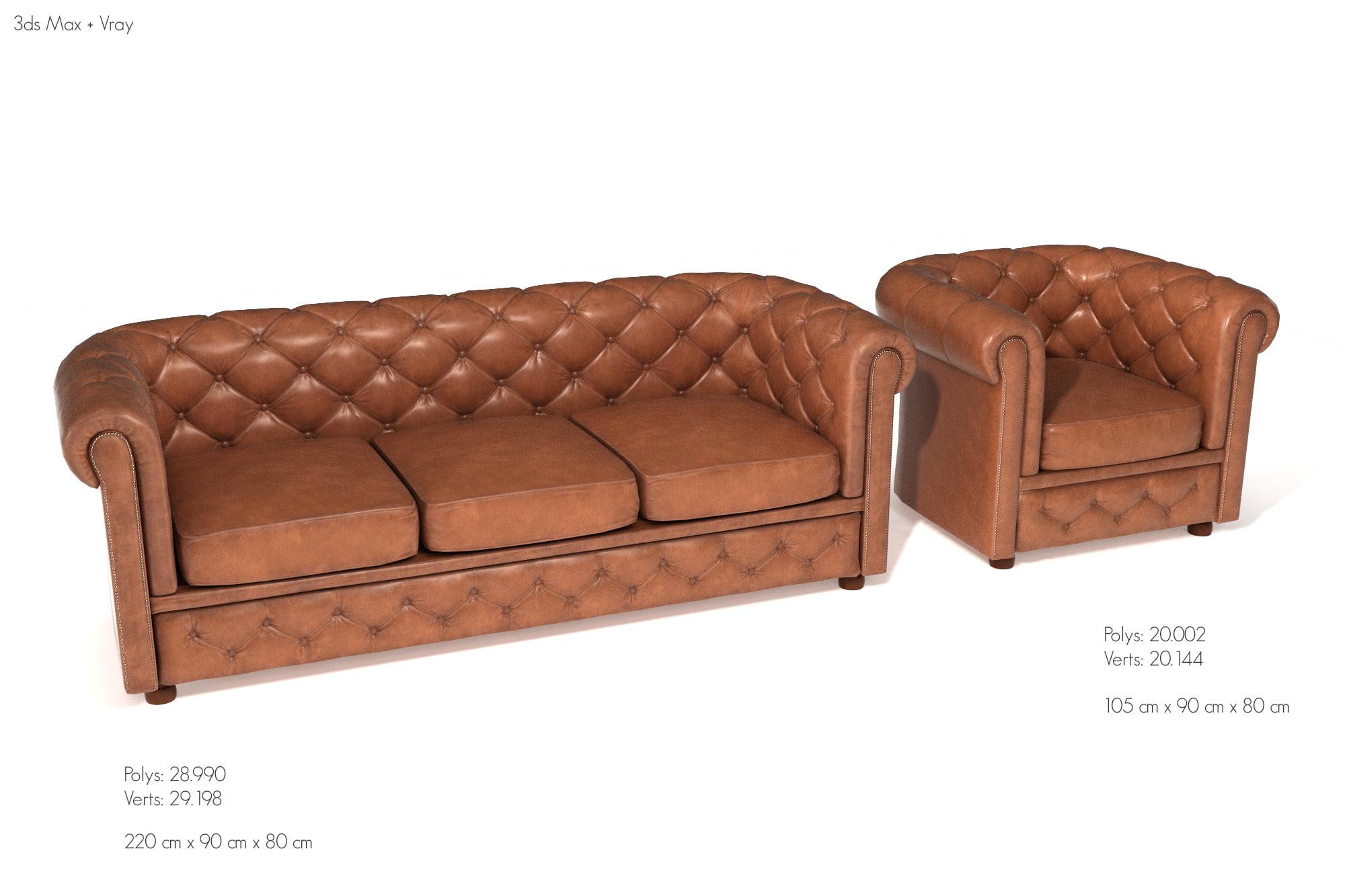 chesterfield sofa ar armchair 3D