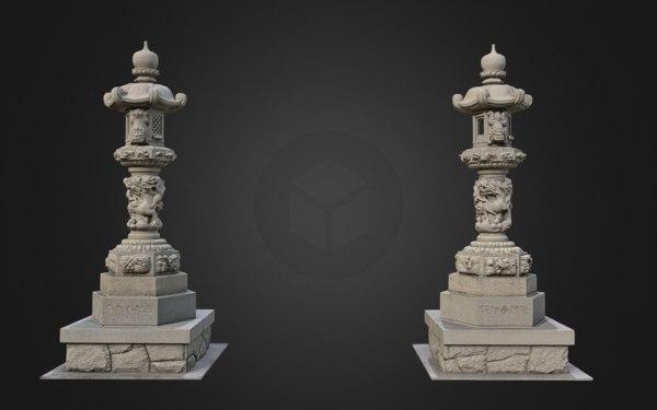 3D 4k lantern stone buddhist