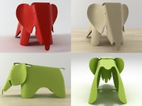 3D eames plywood elephant model